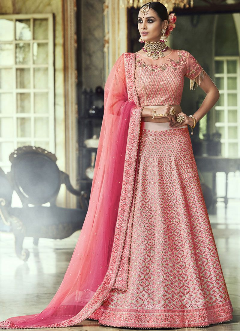 Lehenga Choli Lace Net in Pink