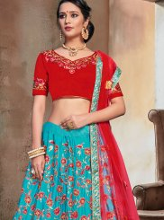 Lehenga Choli Lace Nylon in Firozi