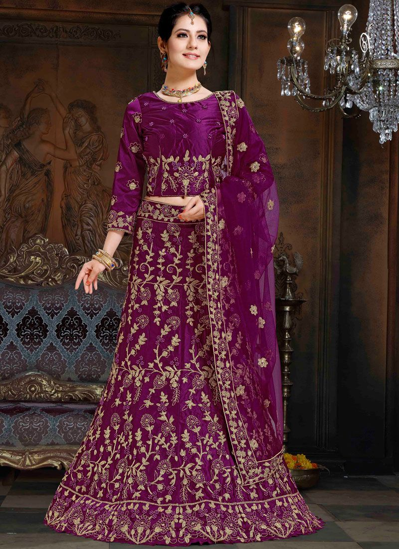 Lehenga Choli Lace Satin in Purple