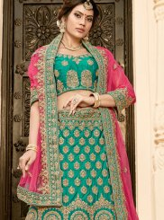 Lehenga Choli Patch Border Art Silk in Sea Green