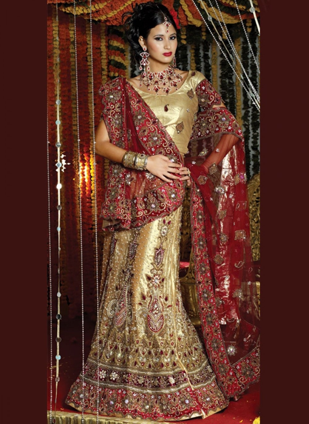 Lehenga Choli Patch Border Net in Gold