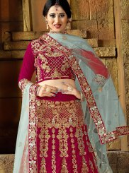 Lehenga Choli Patch Border Velvet in Rani