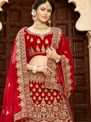 Lehenga Choli Patch Border Velvet in Red