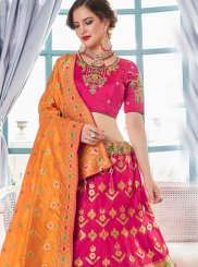 Lehenga Choli Resham Jacquard Silk in Hot Pink