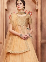 Lehenga Choli Sequins Net in Beige