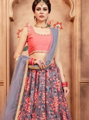 Lehenga Choli Zari Net in Grey