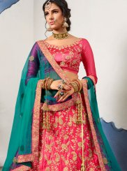 Lehenga Choli Zari Satin Silk in Pink