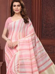 Linen Abstract Print Casual Saree