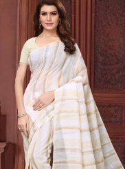 Linen Abstract Print Casual Saree in White