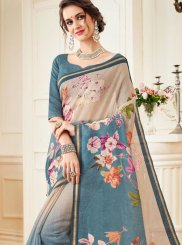 Linen Abstract Print Multi Colour Casual Saree
