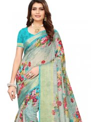 Linen Abstract Print Multi Colour Printed Saree