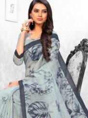 Linen Abstract Print Printed Saree
