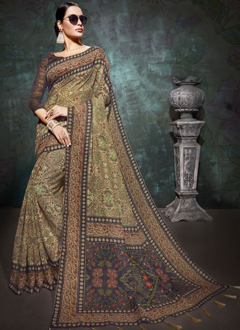 Linen Abstract Print Printed Saree in Beige