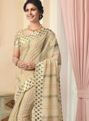 Linen Beige Printed Designer Traditional Saree