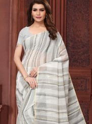 Linen Blue Abstract Print Casual Saree