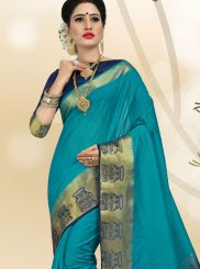 Linen Blue Weaving Classic Designer Saree