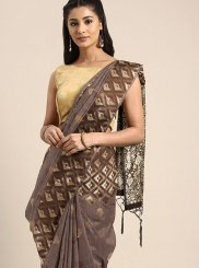 Linen Brown Weaving Designer Traditional Saree