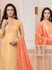 Linen Churidar Designer Suit in Yellow