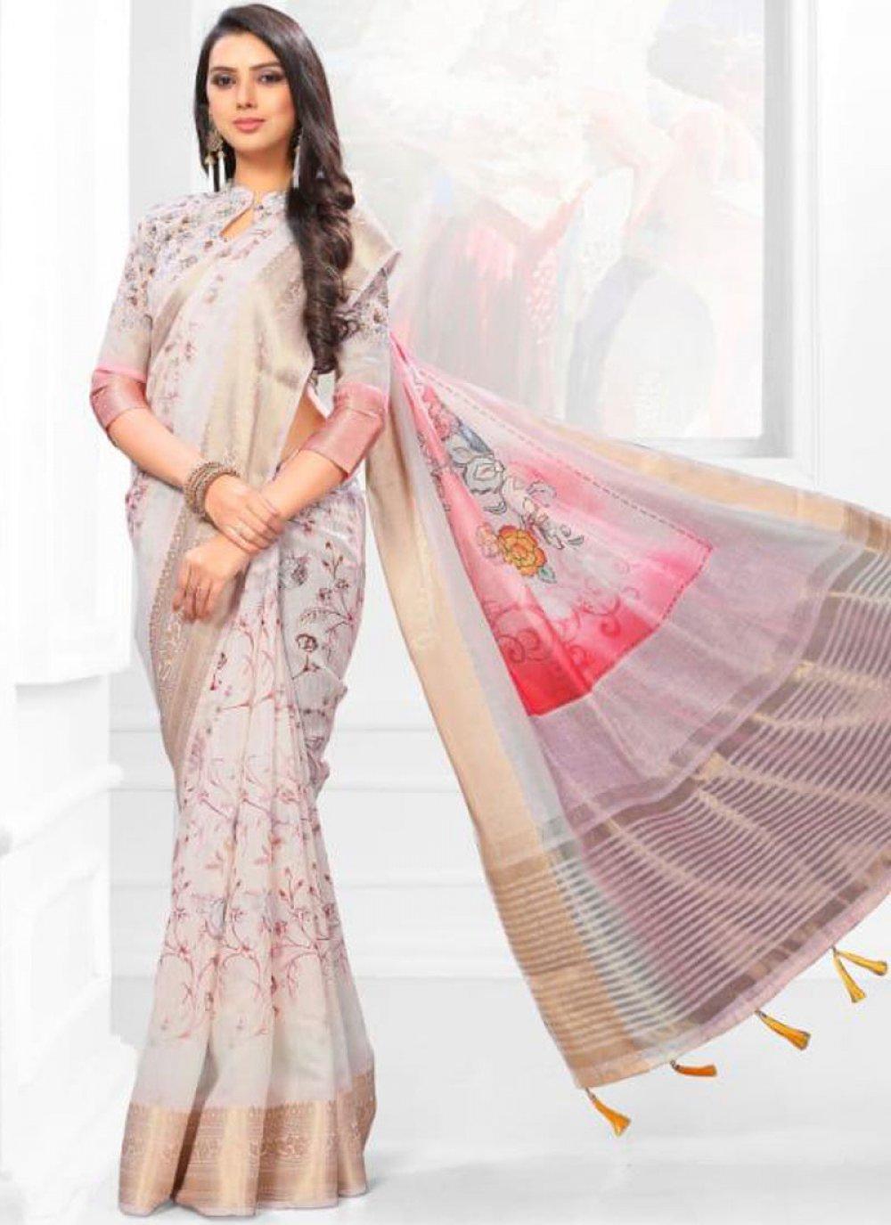 Linen Digital Print Multi Colour Casual Saree