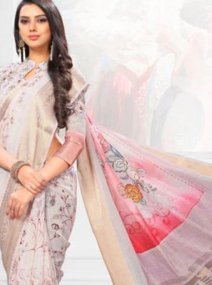 Linen Digital Print Multi Colour Casual Saree
