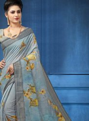 Linen Digital Print Multi Colour Printed Saree