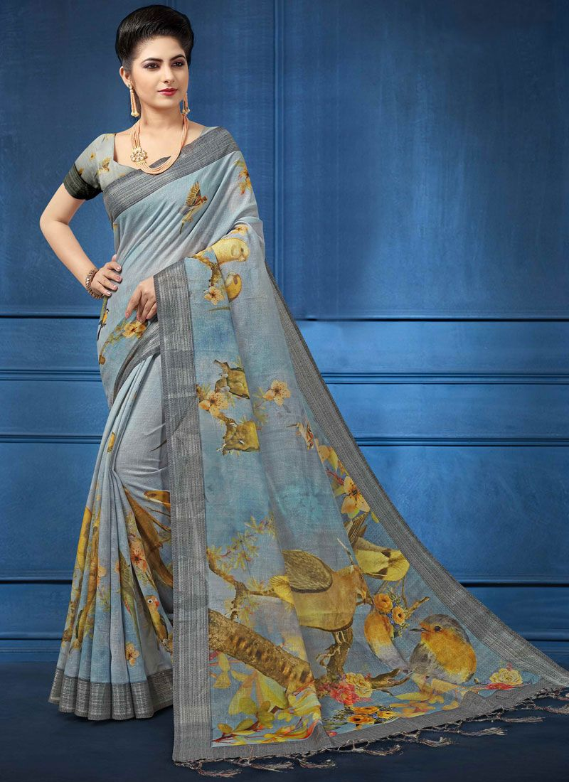 d4a8ed8123 Shop Online Linen Digital Print Multi Colour Printed Saree : 103557 -