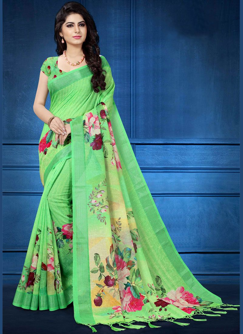 d87742d50e Buy Linen Digital Print Multi Colour Printed Saree Online -
