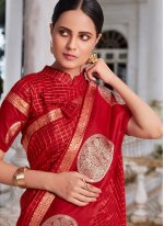 Linen Embroidered Designer Traditional Saree in Red