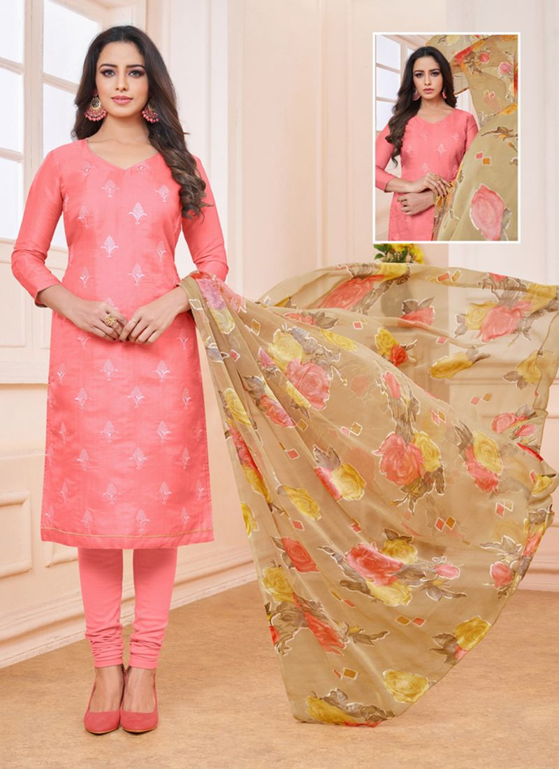 Linen Embroidered Pink Churidar Designer Suit