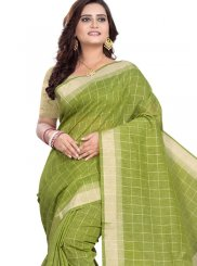 Linen Green Print Casual Saree