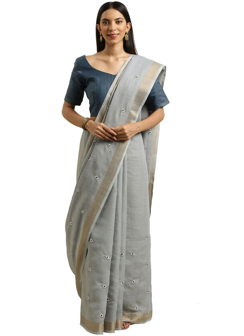 Linen Grey Embroidered Casual Saree