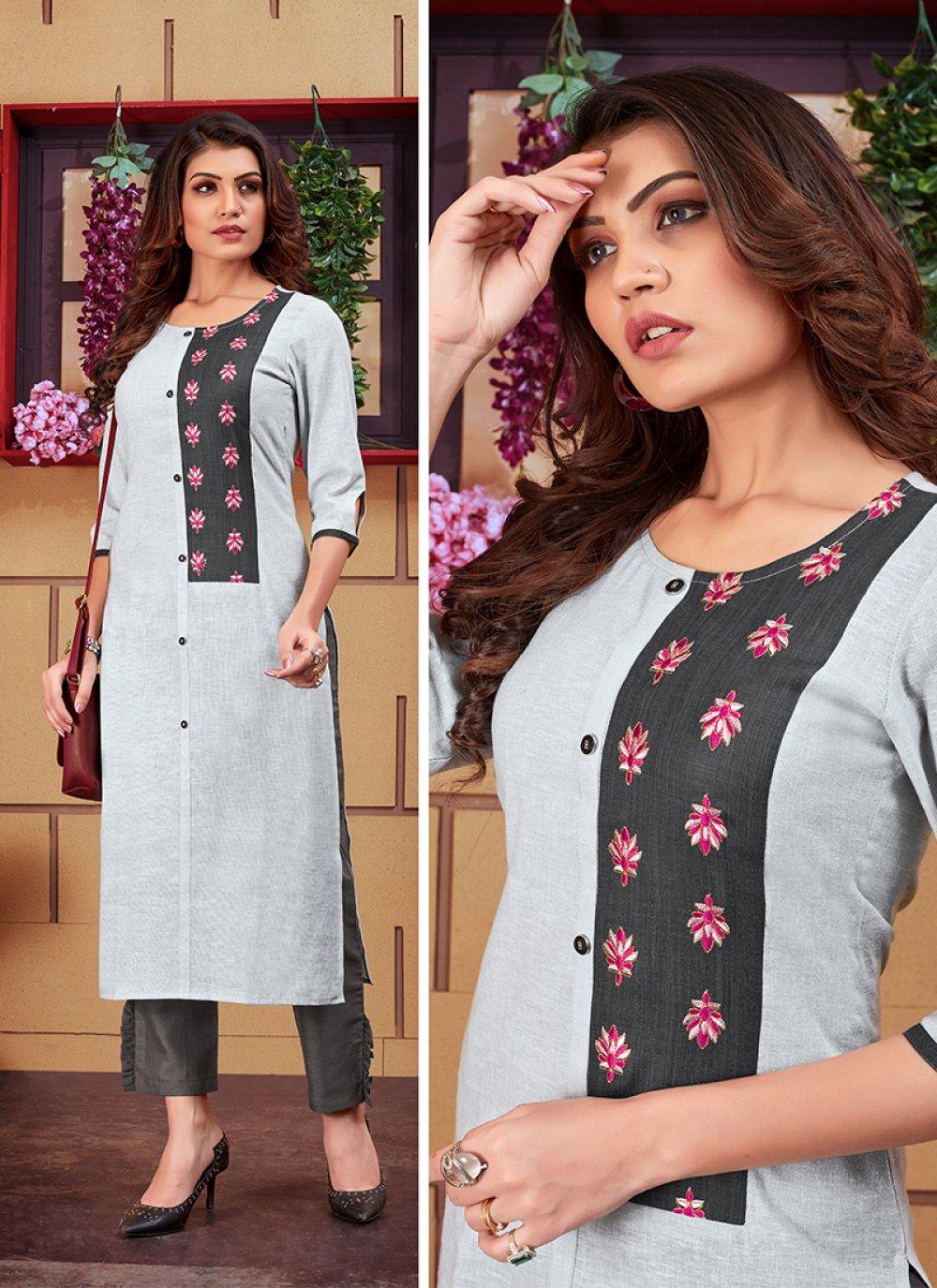 Linen Grey Embroidered Designer Kurti