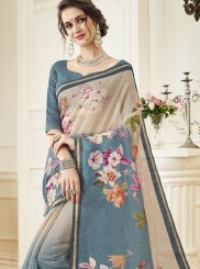 Linen Grey Print Traditional Designer Saree
