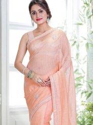 Linen Handwork Pink Classic Designer Saree