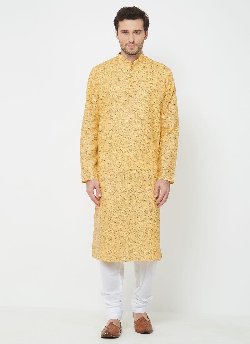 Linen Kurta Pyjama in Orange