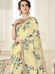 Linen Multi Colour Abstract Print Printed Saree