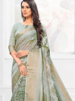 Linen Multi Colour Digital Print Casual Saree