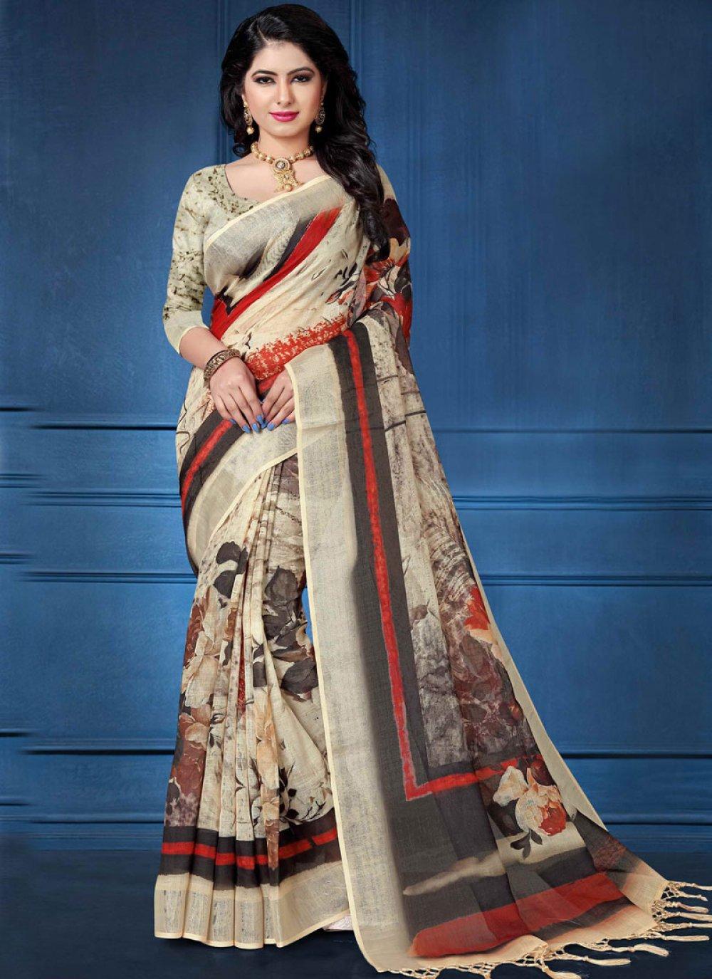 Linen Multi Colour Digital Print Printed Saree