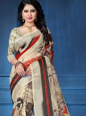Linen Multi Colour Digital Print Printed Saree