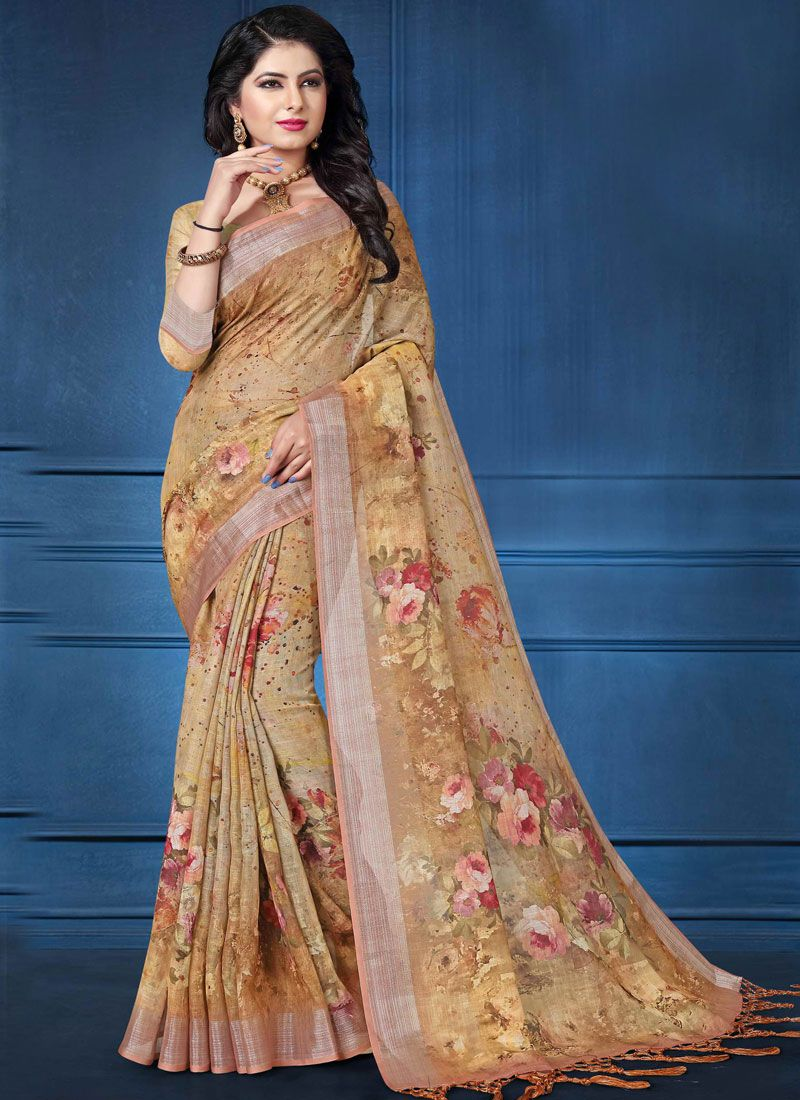 Linen Multi Colour Printed Saree