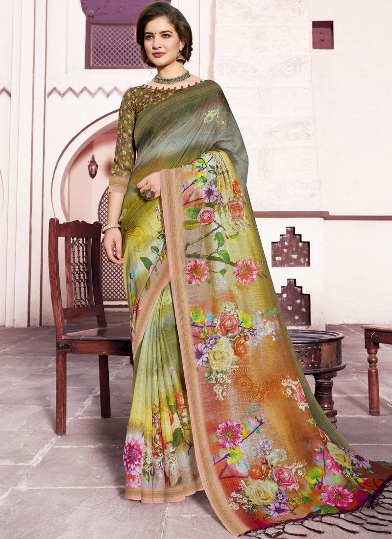 Linen Multi Colour Trendy Saree
