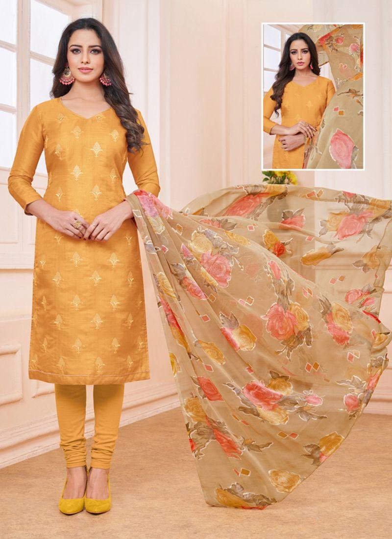 Linen Mustard Churidar Designer Suit