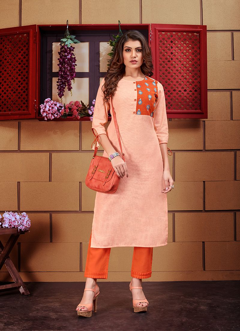 Linen Orange Designer Kurti