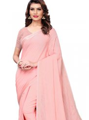 Linen Pink Casual Saree