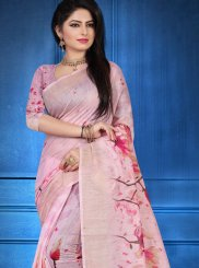 Linen Pink Digital Print Designer Saree