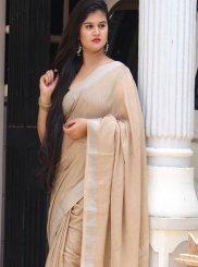 Linen Plain Beige Classic Designer Saree