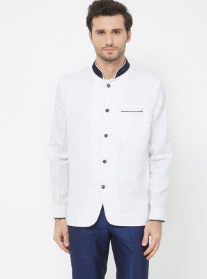 Linen Plain Coats & Blazers in White