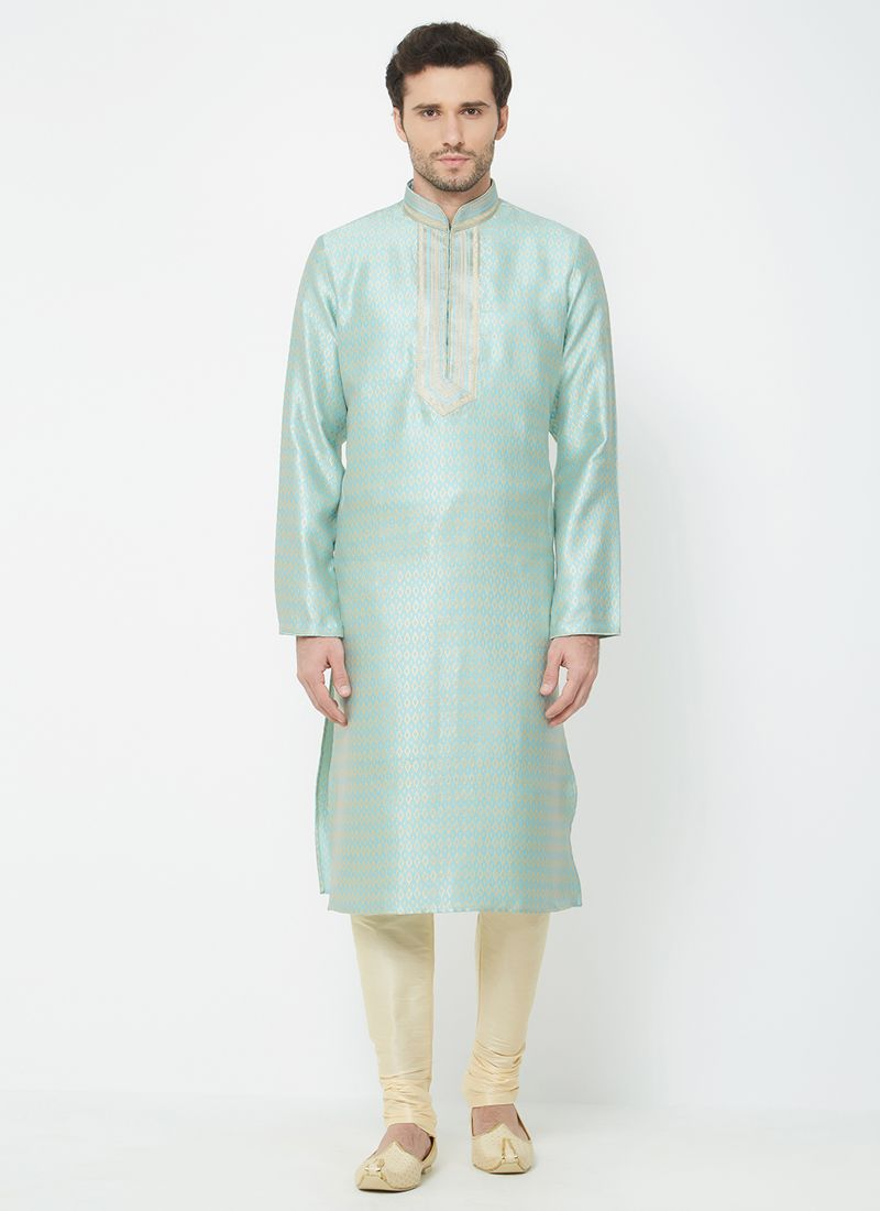 Linen Plain Kurta Pyjama in Blue
