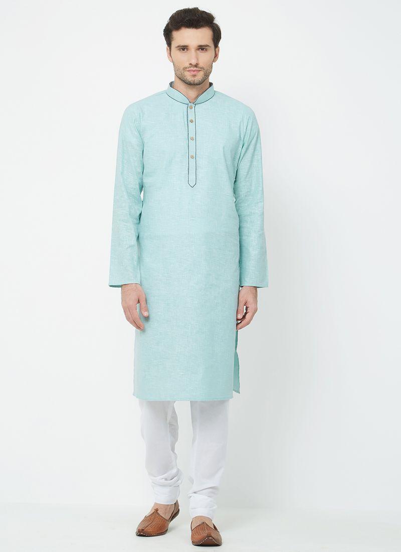 Linen Plain Kurta Pyjama in Blue
