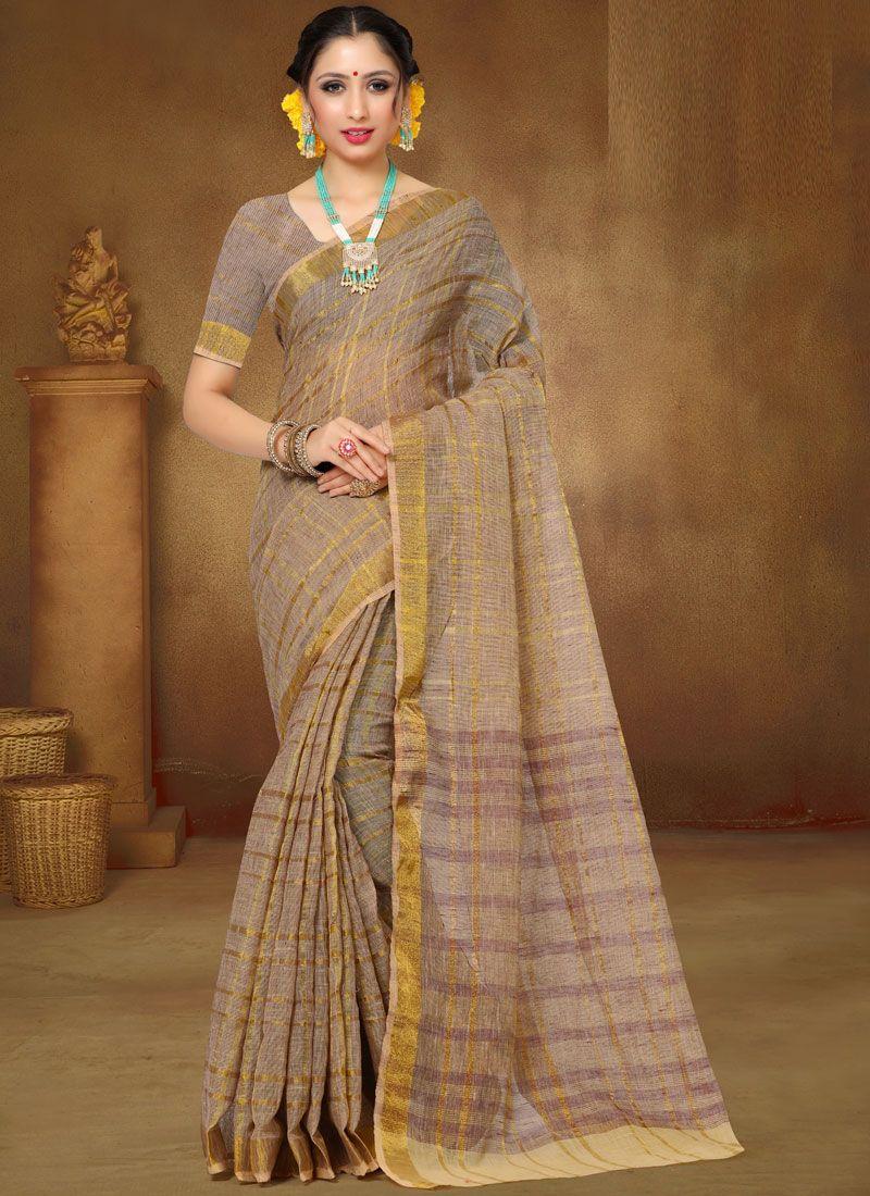 Linen Print Brown Saree